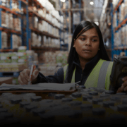 woman taking inventory in a warehouse job