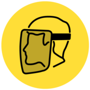 Illustration of a worker wearing a face shield