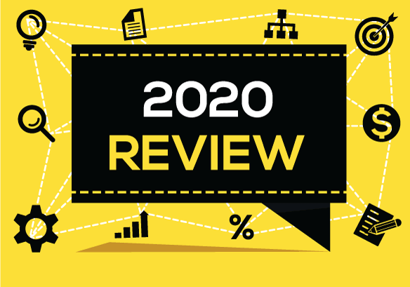 2020 review banner with icons representing employees, employers, new skills, new hires, org charts, jobs, and job searches.