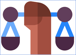 graphic of an african american hand holding justice scales