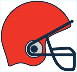 graphic of an orange and black football helmet