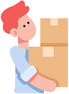 illustration of a red haired man carrying boxes