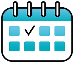 white and blue calendar with a check mark