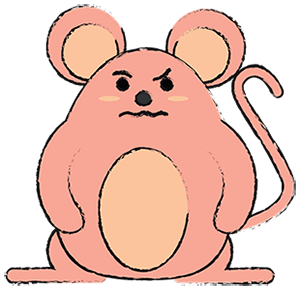 illustration of a cranky looking mouse