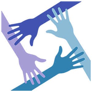 four hands that are different shades of blue and purple, laying over one another in a square