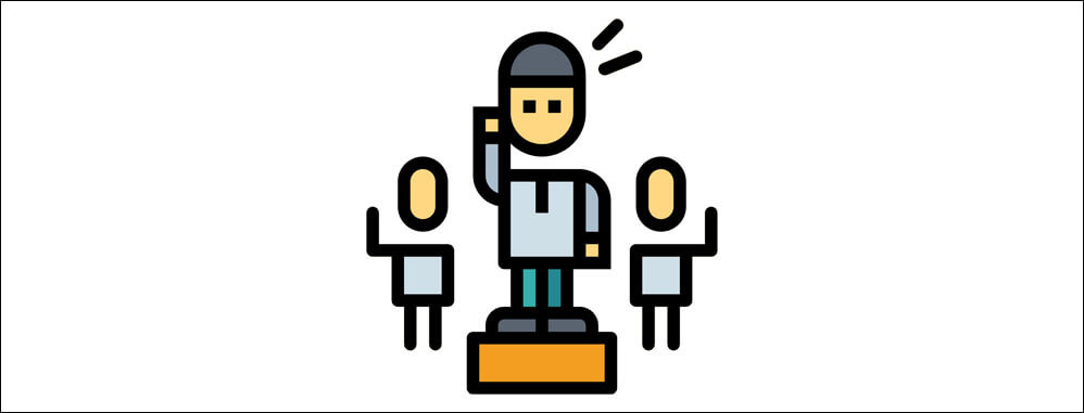 illustration of person with their hand up on a pedestal. two people are behind them.