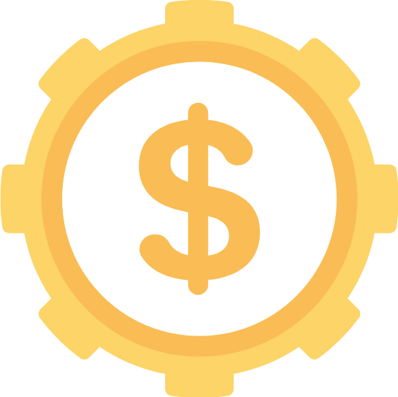 dollar sign inside a gear graphic