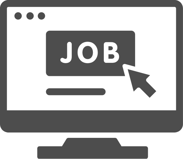 graphic of computer with job on the screen