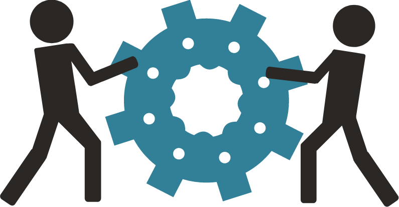 two figures working together to move a gear graphic