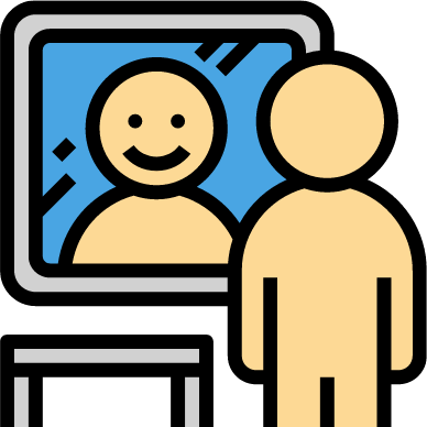 graphic of person looking at themself in a mirror