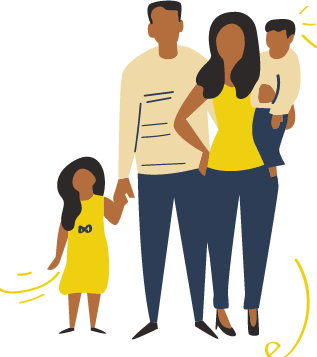 family of man, woman, boy and girl dressed in yellow